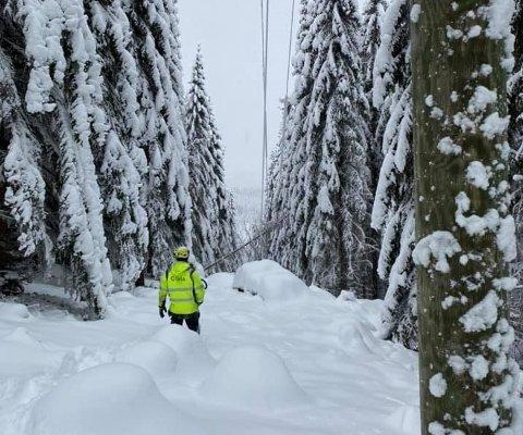 UFREMKOMMELIG: Strømbrudd med kilde dypt inn i skogene skaper problemer for mannskapet.