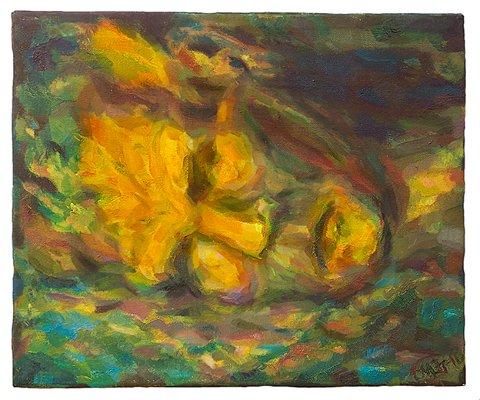 HJEMBYEN: Kunstner IngeMi Juel er fra Sandefjord. Dette er hennes maleri, med tittelen Neptuns gule side.