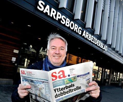 ØKER OPPLAGET: Ansvarlig redaktør i Sarpsborg Arbeiderblad, Bernt Lyngstad, er naturlig nok fornøyd med at opplaget på lokalavisen øker.