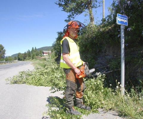 I gang: Emil Listrud i Valdres Skog gjer litt ryddearbeid med motorsaga før skogsmaskina skal ta hovudjobben nordover frå Rogne skule mot Kyrkjebergvegen.