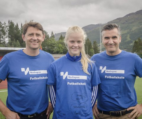 Støtter talent: NB Engros, her ved daglig leder Jens Petter Opshaug og salgs- og markedsansvarlig Vasko Jovison støtte Katrine Winnem Jørgensen med 7.500 kr.