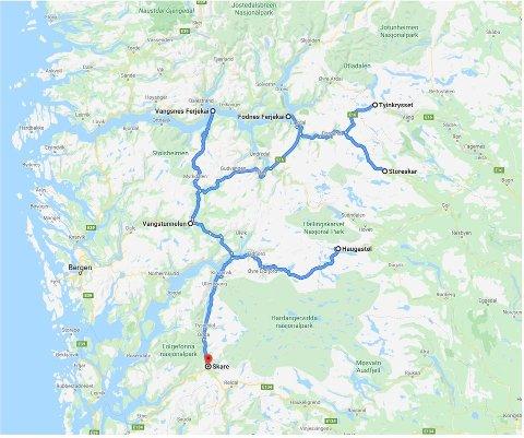 Riksvegane markert med blått er omfatta av elektrokontrakt Hardanger og Sogn. Illustrasjonskart: Statens vegvesen
