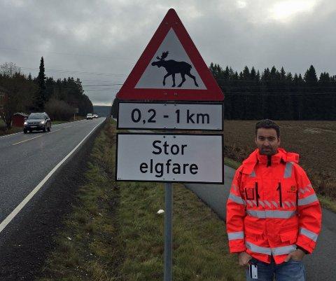 Stor elgfare: Fareskilt er det vanligste tiltaket mot hjorteviltulykker. – Utfordringen er at de fleste ikke setter ned farten, sier senioringeniør Vegard Moe i Statens vegvesen.