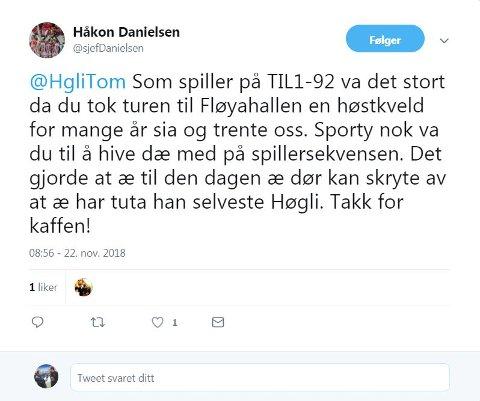 En av mange hyllester som kom til Tom Høgli på Twitter.