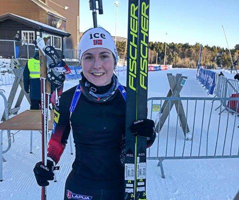 Marthe Kråkstad Johansen, B&Y IL, imponerer i sesongstarten. På Geilo lørdag ble det en 3.plass i seniorklassen. Marthe er ennå junior og på det norske utviklingslandslaget i skiskyting.