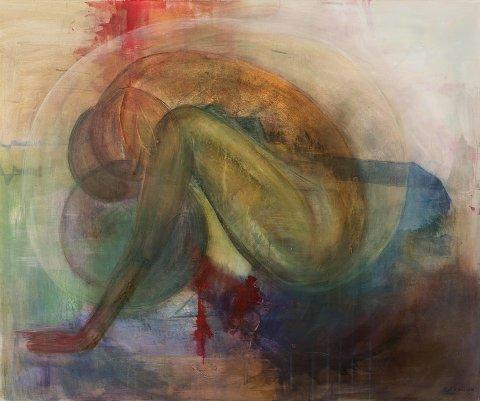 Sittende kvinne: Et av bildene Kari Hestnes viser på utstillingen i Fengselet.