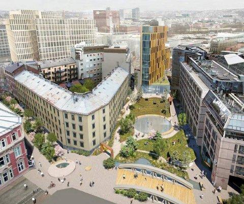 Dette er et av de fire forslagene fra mulighetsstudien Winta Eiendom presenterte for Sommenfrydparken da de tok initiativ til oppstartsmøte med Oslo kommune i 2020. Plan- og bygningsetaten stoppet den videre planprosessen, og Winta Eiendom anket saken til bystyret.