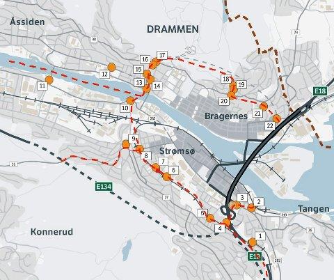 drammen sentrum kart Drammens Tidende   Kraftige reaksjoner på plassering av bomstasjoner