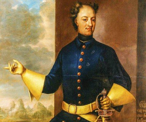 KARL XII: På maleriet av Johann Heinrich Wedekind fra året etter kongens død er han gjengitt mens han strekker ut hånda og peker, «visande Norrige». Utsnitt av maleri på Gripsholms slott.