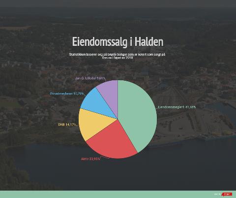 STATISTIKK: Dette kakediagrammet viser hvordan markedsandelene på salg av brukte boliger i 2018 var i Halden. Nye boligprosjekter, fritidsboliger og boliger solgt utenom finn.no er ikke en del av tallene.