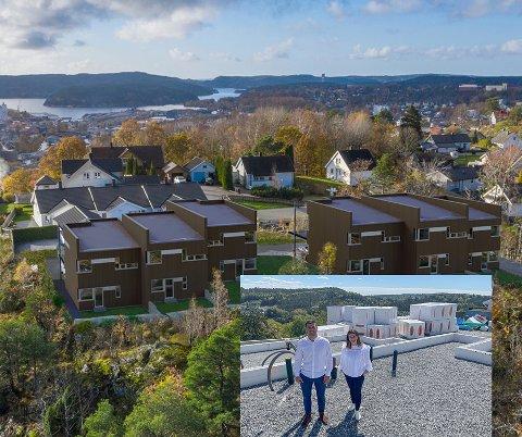 Linda Torp Skogli og Sabri Khattab selger rekkehusleiligheter på byens tak.