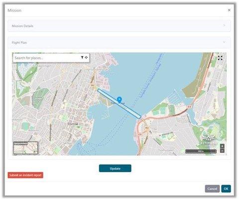 Eksempel på kartvisning for dronebrukere i Ninox Drone-appen.