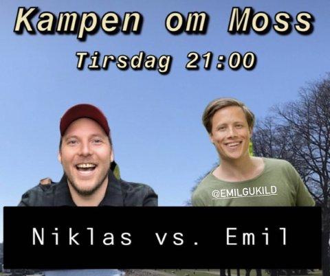 DUELL: Emil Gukild utfordret Niklas Baarli til quizduell. Stian Thorbjørnsen var quizmaster.