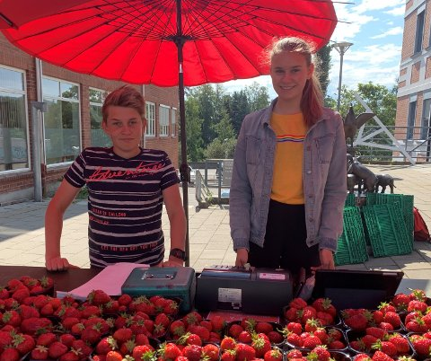 TRAVELT: Magnus Austdal (14) og Lea Korssjøen (17) får hyppig besøk av kunder som vil kjøpe jordbær fra standen i Storgata på Gjøvik.
