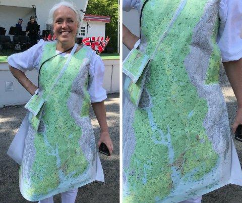 IKLEDD KOMMUNEN: Larviks nye kommunalsjef for areal og teknikk, Hilde Bøkestad, laget sin egen kjole av kommunekartet!