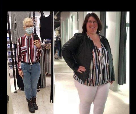 FØR OG ETTER: Laila Kaiser har slanket bort mer enn halve kroppsvekten. – Før brukte jeg størrelse XXXL. Nå kan jeg kjøpe klær i størrelse S. Det er helt utrolig, sier hun.