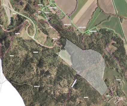 Nytt område: Det skraverte feltet er på motsatt side av der Asko skal etablere seg. Som dere ser er dette området mye større en tomta Asko har sikret seg.