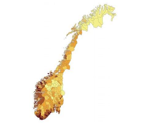Kartet viser utbredelsen av skogflått i Norge. Lyse farger indikerer fravær/veldig liten flåttforekomst, og mørke farger viser til høyere flåttforekomst.