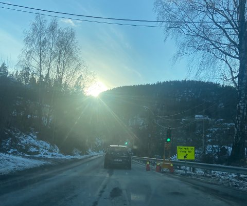Det var tirsdag ettermiddag lysregulering cirka midt mellom Hella og Nesbygda.