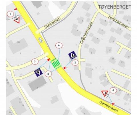 NYE GANGFELT: Viken fylkeskommune skal opparbeide to nye opphøyde gangfelt over Gamleveien ved Tøyenhaugen, ett ved Kiwi og ett lenger nord ved Gruvearbeiderveien. Nå er skiltingen godkjent av Statens vegvesen.