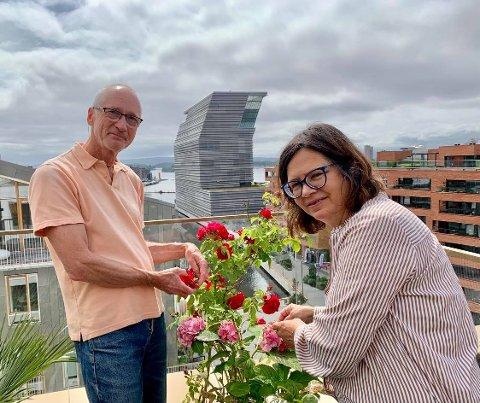 FRODIG: Per Heyerdahl og Carole Allen steller rosene på takterrassen i Bjørvika. Utsikten til det nye Munchmuseet er upåklagelig,.