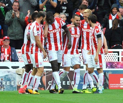 Stoke og Jese feirer seiersmålet mot Arsenal tidligere denne sesongen.