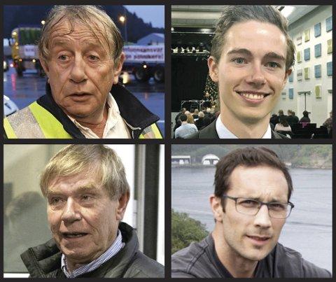Øverst fra venstre: Willy Padøy, Kjartan Moi Andreassen, Tor Woldseth og Thomas Flesland er alle kastet ut av Frp.