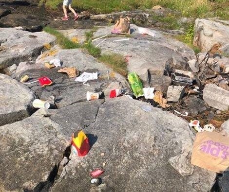 Søppel: Dette var kun litt av det som møtte barnehagen da de ankom holmen Grønland.