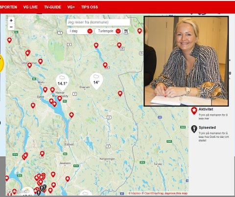 OPPGITT: Leder Kjersti Wangen i Visit Kongsvingerregionen ble oppgi da hun så avisa VGs kart over skjulte perler.