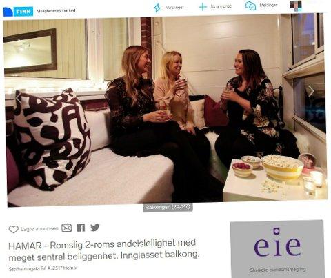 I ANNONSEN: Her er Marthe Stenberg (til høyre) sammen med to venninner i sin egen boligannonse, som ligger ute på Finn.no.