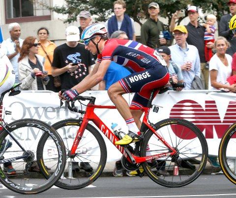 VM landevei for menn elite  under VM i Richmond. Sven Erik Bystrøm fikk det tungt oppover bakkene.