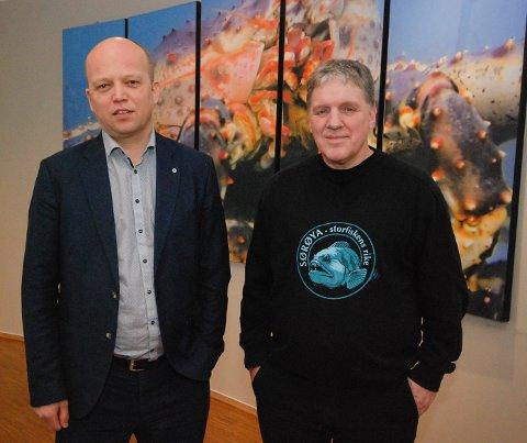 Sp-leder Trygve Slagsvold Vedum og stortingsrepresentant Geir Adelsten Iversen fra Finnmark. Bildet er tatt ved en tidligere anledning.