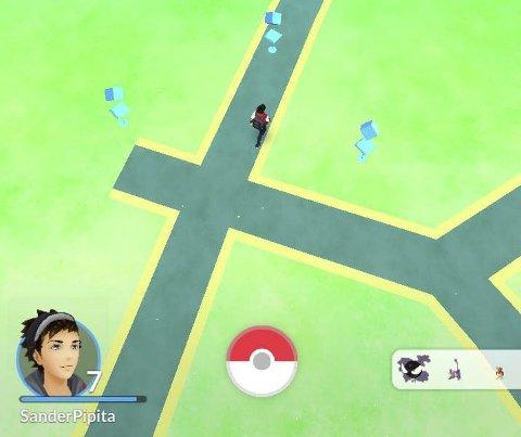 Lukrativt: Slik ser det ut på kartet når man er i Havneparken. De blå symbolene er markører for pokestops.