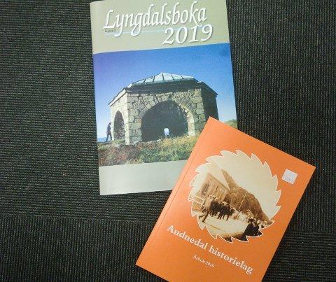 ÅRBØKER: Årbøkene til Lyngdal historielag og Audnedal historielag foreligger inneholder mye interessant lokalhistorisk stoff.