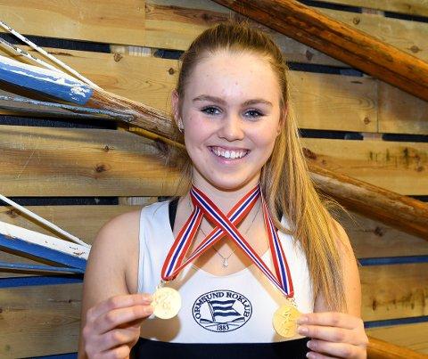 NORGESMESTER: Mathea Louise Rognerud fikk med seg to gullmedaljer fra innendørs-NM.