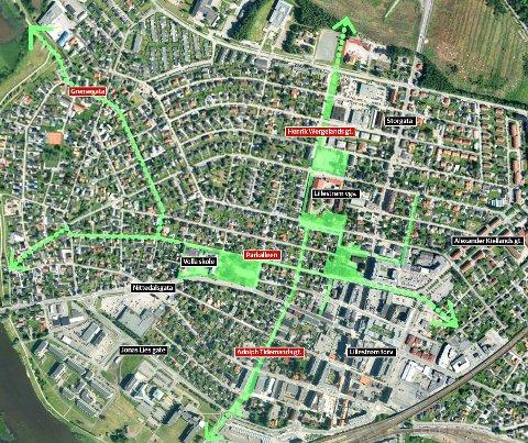 GRØNT: Den ønskede og mer sammenhengende grønnstrukturen vises mellom gatene, mens parkene vises kvartalsvis.Kart: Skedsmo kommune/RB Grafikk