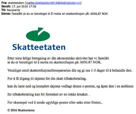 Falsk mail tilsynelatende sendt fra skatteetaten søndag. (Foto: Skjermdump / NTB scanpix)