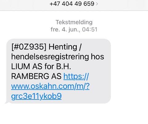 SVINDEL: Eksempel på svindel-melding mottatt som en tekstmelding med link.