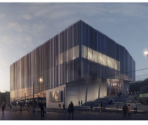 Slik ser Link Arkitektur for seg at det nye bygget ved Åsane storsenter skal se ut, med to etasjer med kino, to etasjer med servering, bowling ol., en etasje detaljhandel og parkering i kjeller.