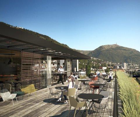 Med utsikt til opptil flere fjell mener både arkitekten og Sølvi Rolland at takterrassen vil bli et gode for bergenserne.