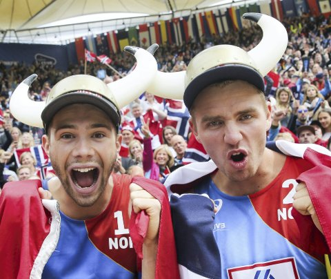 Anders Mol og Christian Sørum kan juble over nok en triumf. Søndag ble de europamestere for andre år på rad! Foto: Christian Charisius /DPA / NTB scanpix