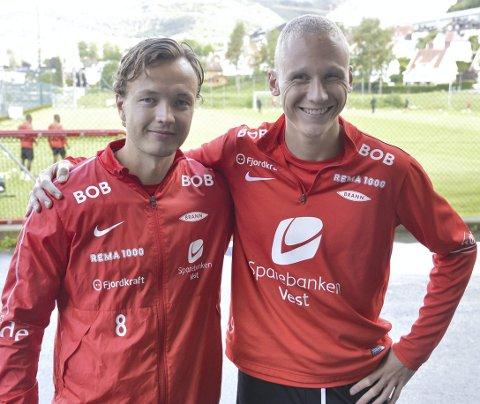 Fredrik Haugen og Kristoffer Barmen håper å bryte ned marerittmotstanderen Mjøndalen fredag. FOTO: EINAR LUNDSØR