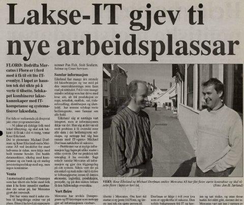 Faksimile:  Firdaposten i  året 2001. Michael Dorfman og Knut Eikeland.