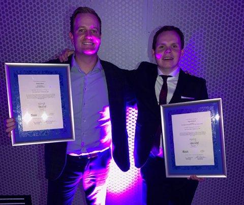 BLANT DEI FEM FINALISTANE: Preben Moen (t.v) saman med kollega Ingar Halland, som vann Årets Unge Hotelier. Moen var nominert til prisen Årets Unge Leder 2018.