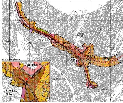 Dette er området som er foreslått avsatt til fremtidig jernbane og riksvei 110 i Fredrikstad sentrum, og som nå kan bli båndlagt med bystyrets vedtak. Her er veitunnelen som  var foreslått under Bratliparken droppet.  Riksvei 110 følger i stedet dagens trasé.  Illustrasjon: Bane NOR og Statens vegvesen i forslaget til kommunedelplan Seut-Rolvsøy.