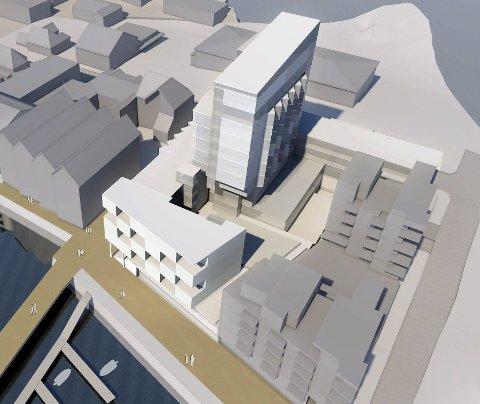 Planer: Erik Blomstrand har gjennom selskapet Frikar AS lansert store planer for området til gamle jern og bygg i Svolvær sentrum. Satsingen på leiligheter, næring og hotell på 14 etasjer er fortsatt aktuelt sier Blomstrand selv om det er flere hotellplaner i byen.Illustrasjon: Vindveggen arkitekter