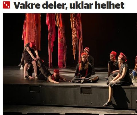 FEIL: I etterkant av anmeldelsen av forestillingen Vástádus Eana – the answer is land kom teaterkritiker Anki Gerhardsen fram til at hun har gjort noen feilvurderinger.