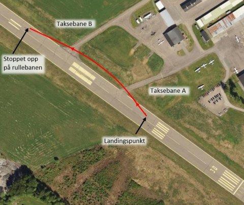 Skisse av flyets bevegelser etter landing. (Illustrasjon: Norge i bilder/SHT)