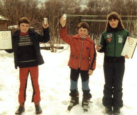 Pallplass: I 1980 ble Sigbjørn og storesøster Lisbet kretsmestre i slalåm. Lillebror Jon ble nr. 2. Sigbjørn var også med på turning. Foto: Privat