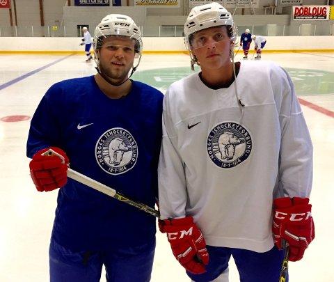 GODE: Sander Rønnild og Mikael Resberg Mikalsen er på landslagssamling med U20-landslaget på Hamar denne uken. Der imponerer iskrigerne fra Plankebyen.